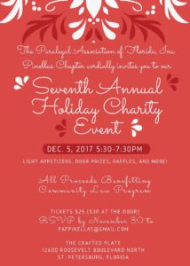 PAF Pinellas Seventh Annual Holiday Charity Event Flyer